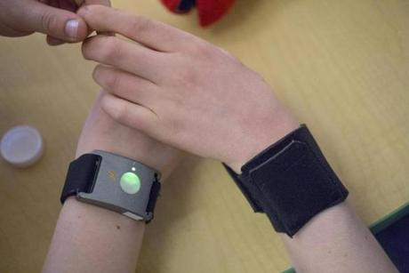 Input from wall-mounted cameras was analyzed together with data transmitted from the wristband devices.